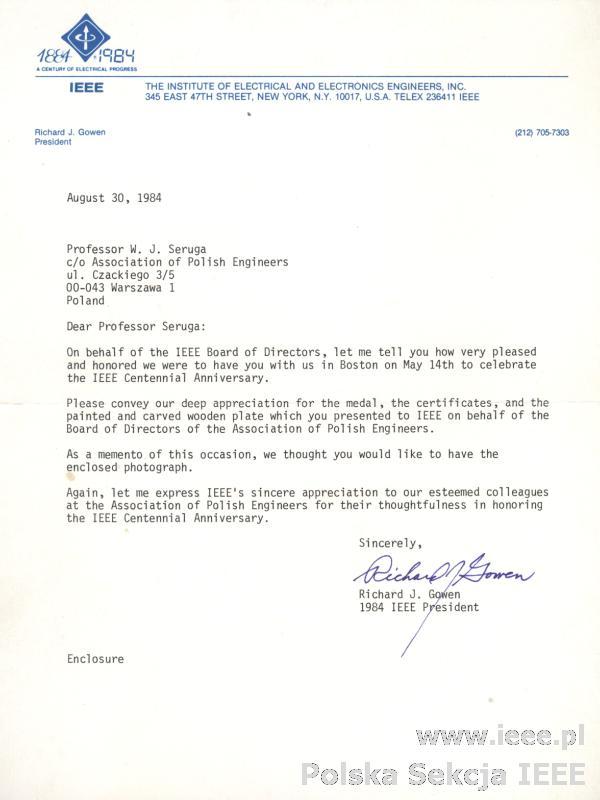 List od prezydenta IEEE